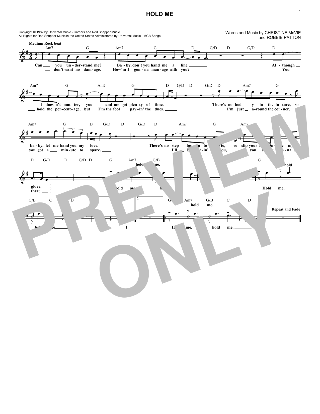 Hold Me (Lead Sheet / Fake Book)