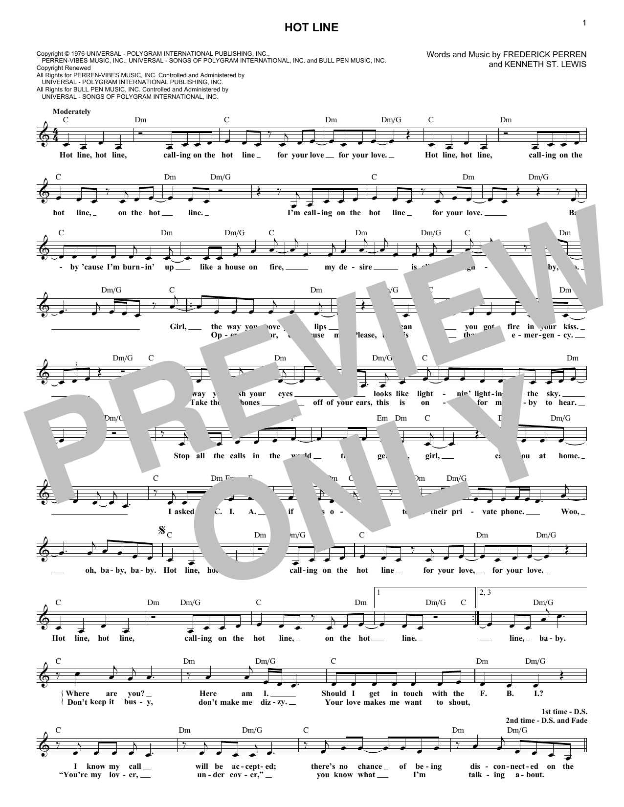 Hot Line (Lead Sheet / Fake Book)