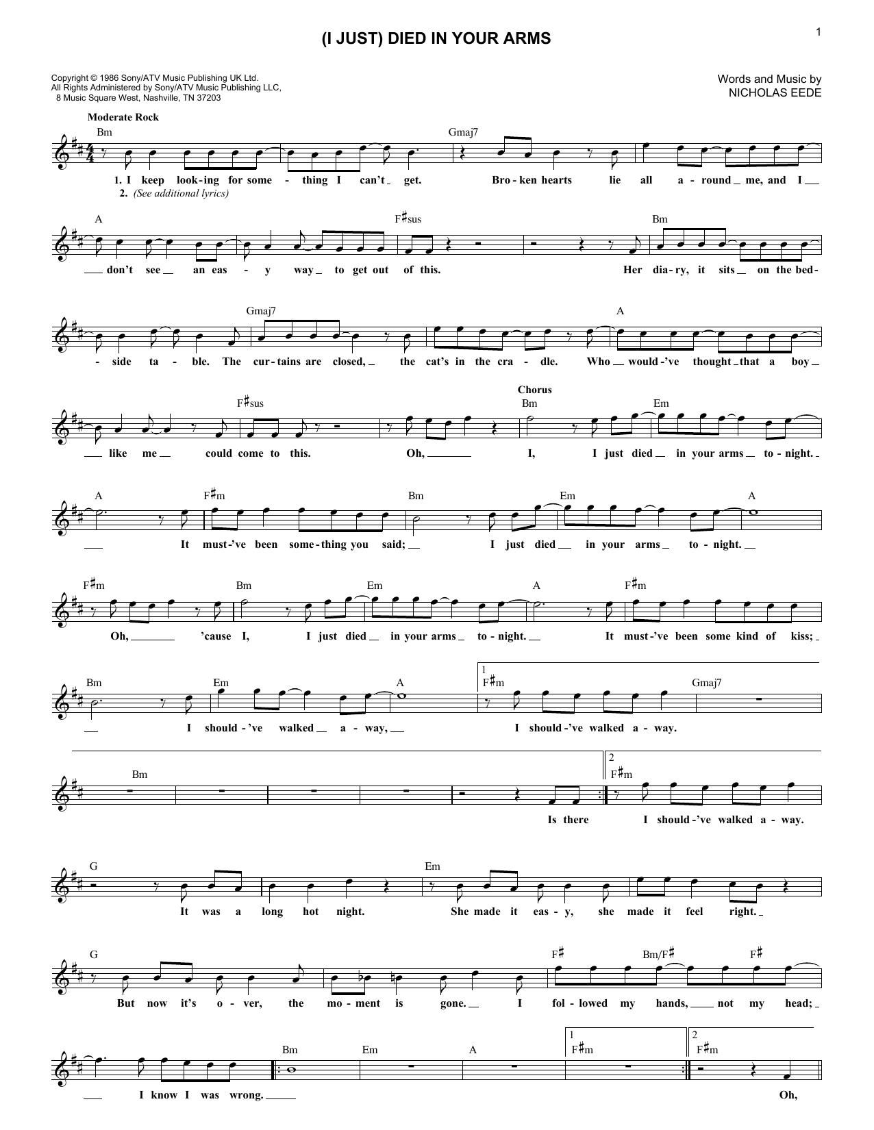 (I Just) Died In Your Arms (Lead Sheet / Fake Book)