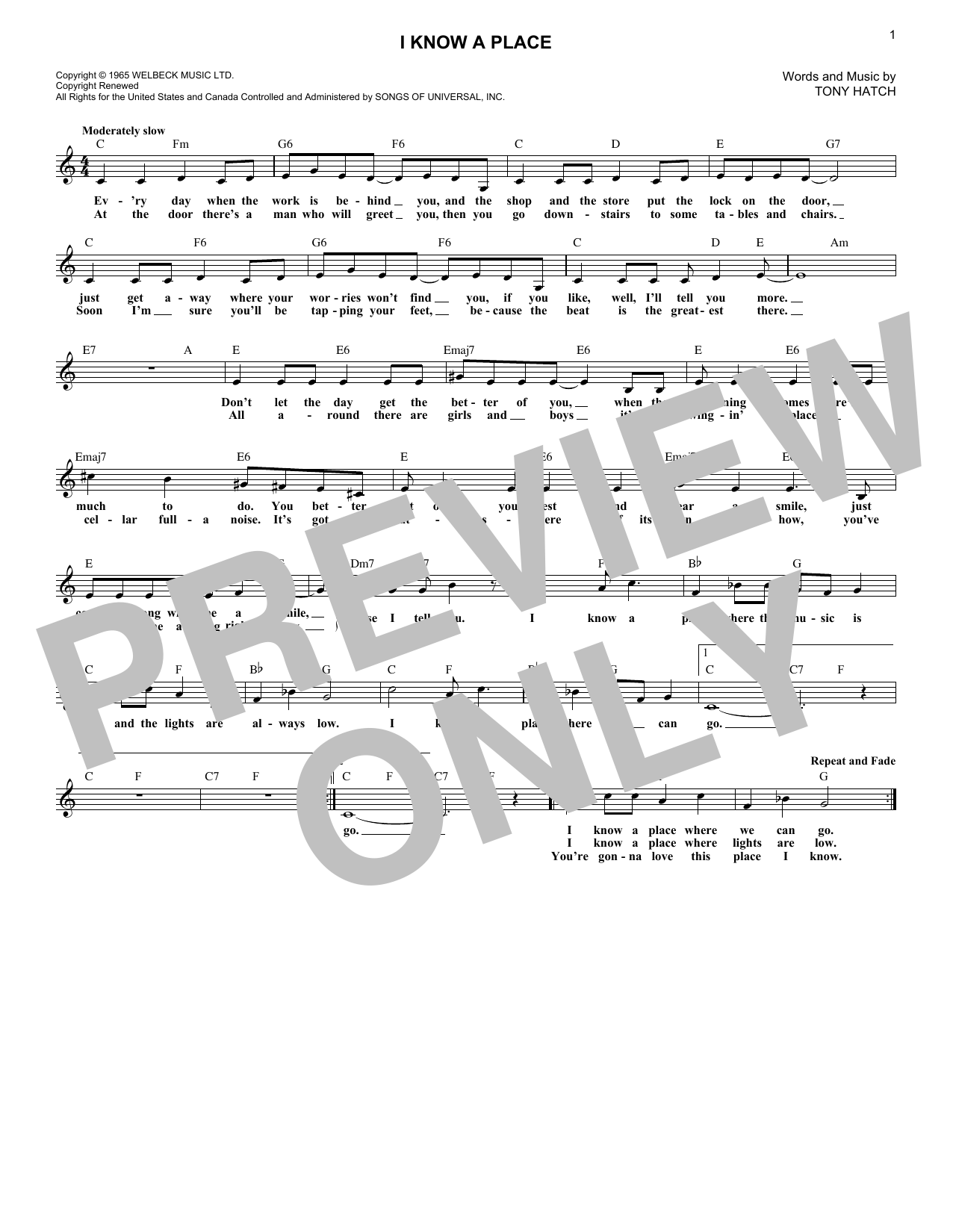 I Know A Place (Lead Sheet / Fake Book)