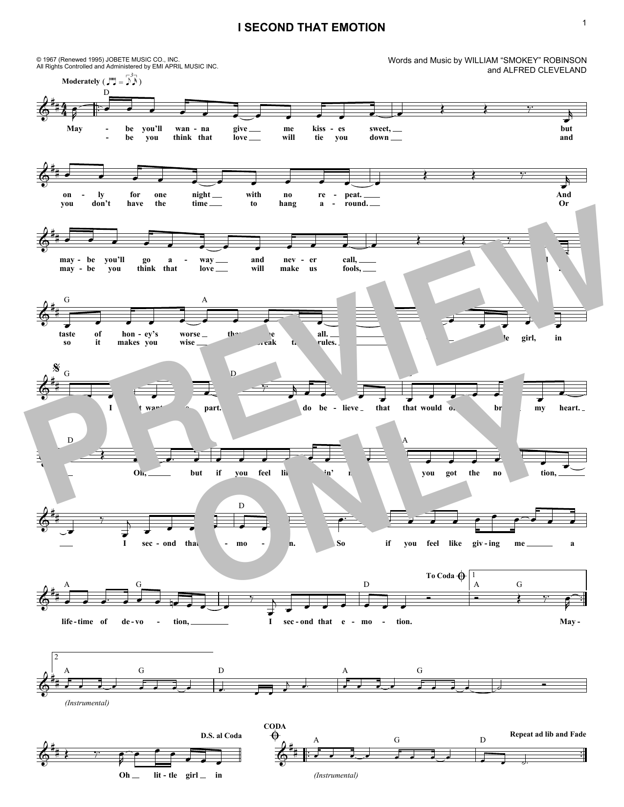 I Second That Emotion (Lead Sheet / Fake Book)