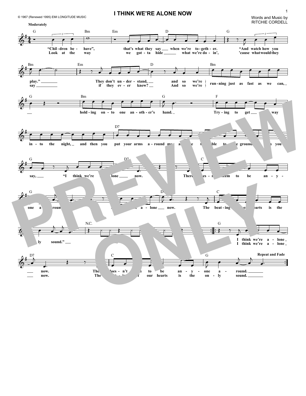 I Think We're Alone Now (Lead Sheet / Fake Book)