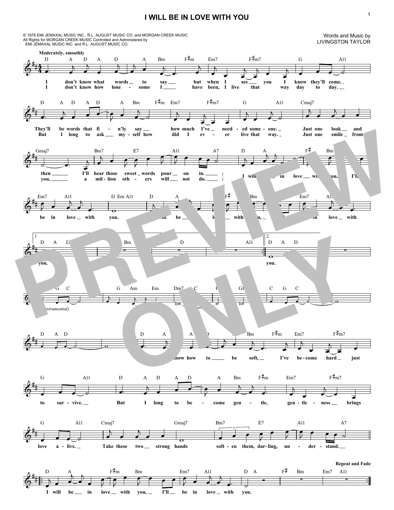 I Will Be In Love With You (Lead Sheet / Fake Book)
