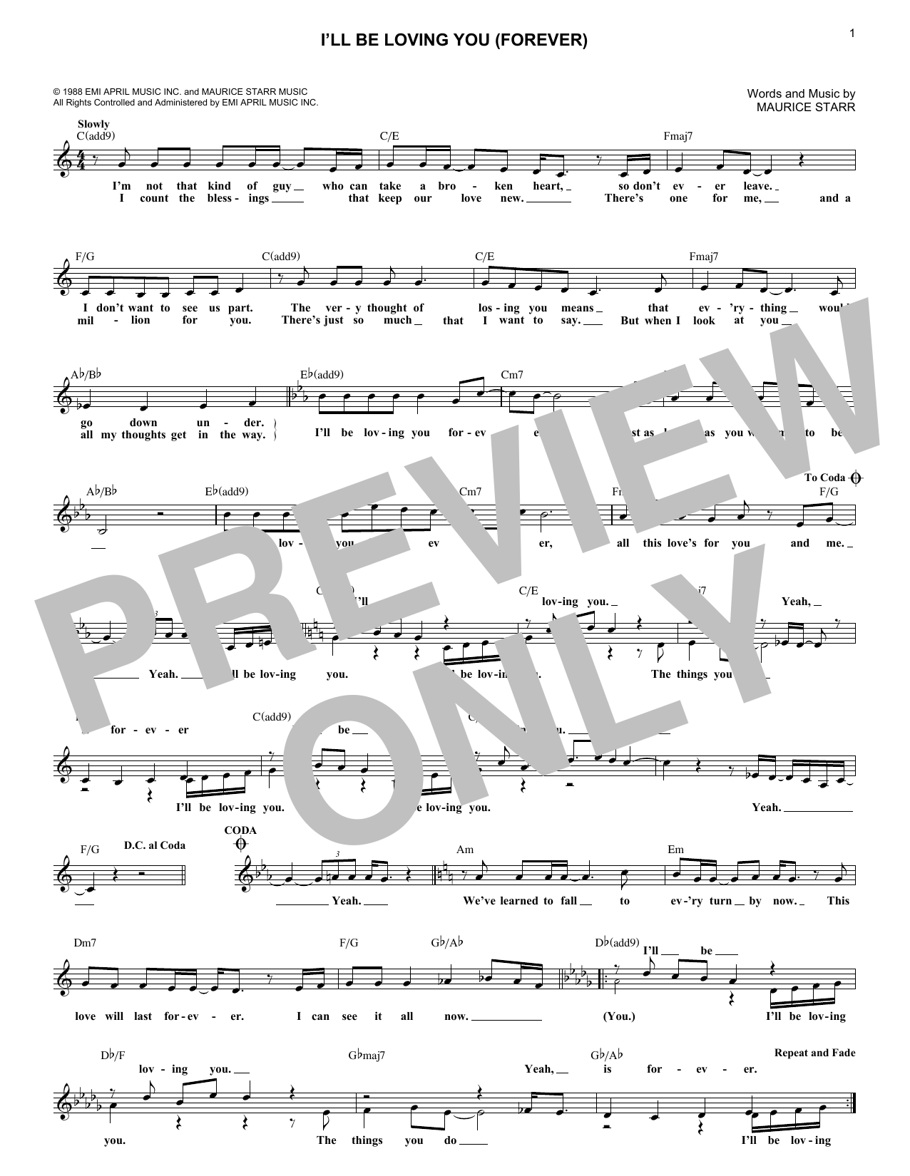 I'll Be Loving You (Forever) (Lead Sheet / Fake Book)