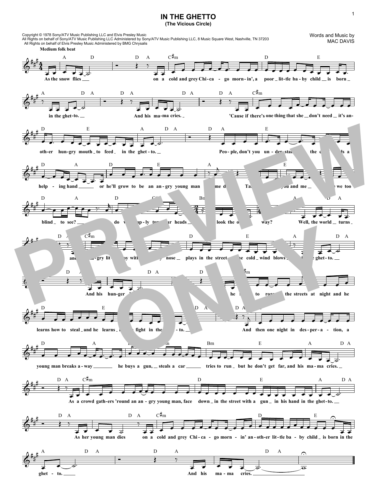 In The Ghetto (The Vicious Circle) (Lead Sheet / Fake Book)
