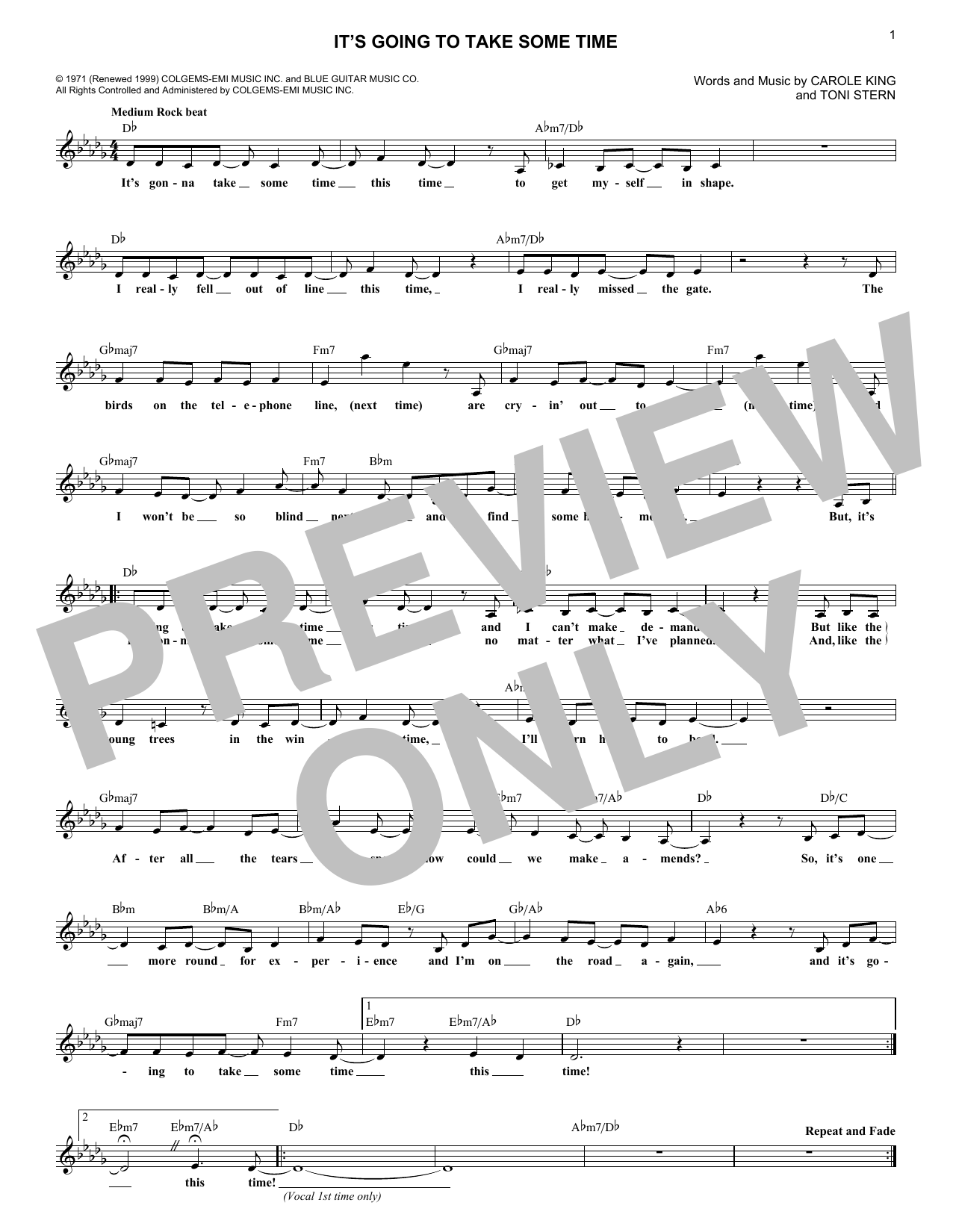 It's Going To Take Some Time (Lead Sheet / Fake Book)
