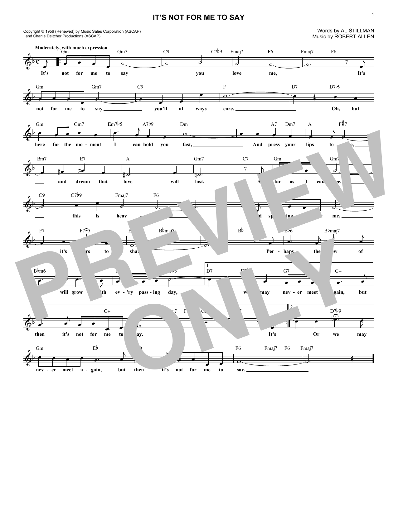 It's Not For Me To Say (Lead Sheet / Fake Book)