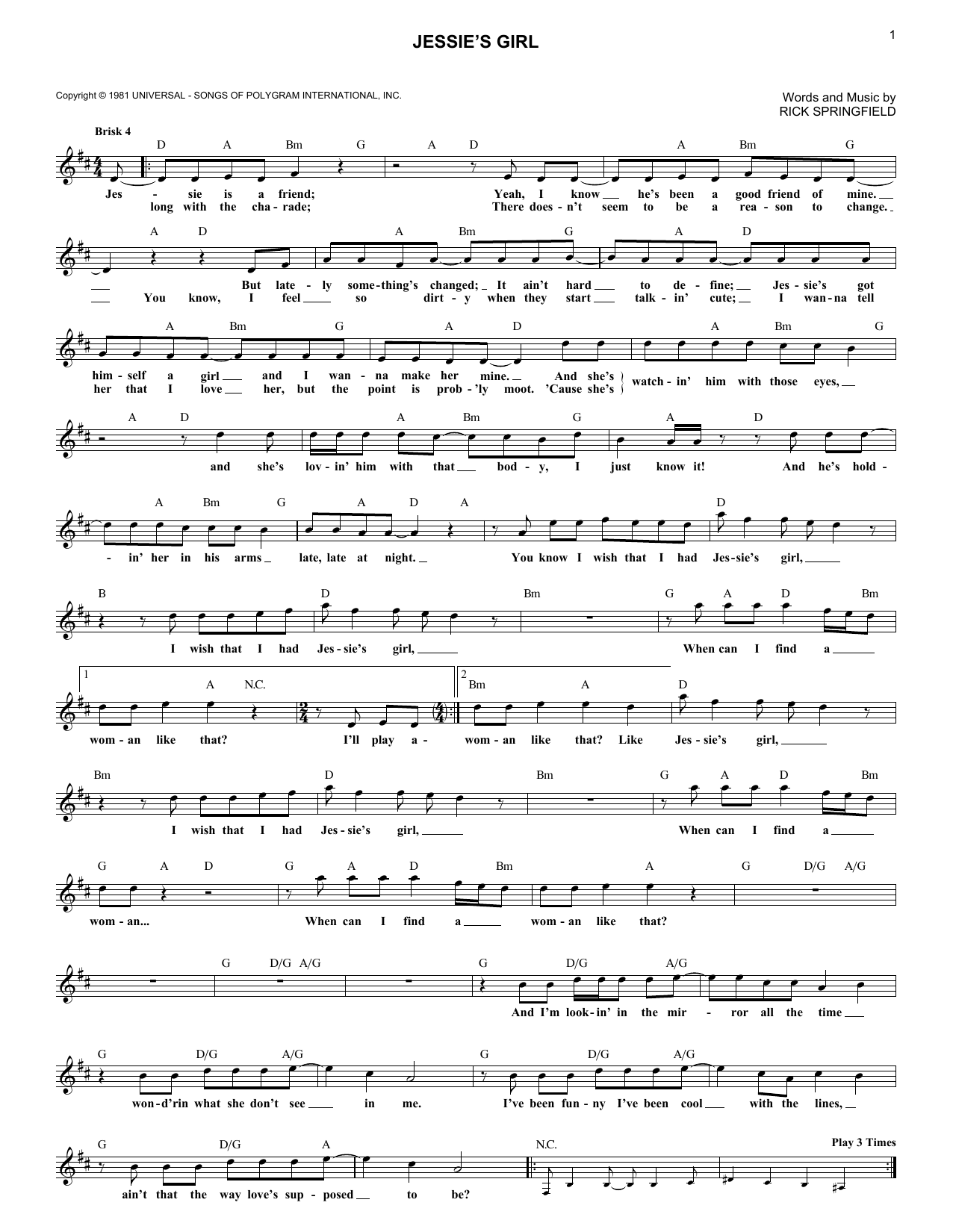 Jessie's Girl (Lead Sheet / Fake Book)
