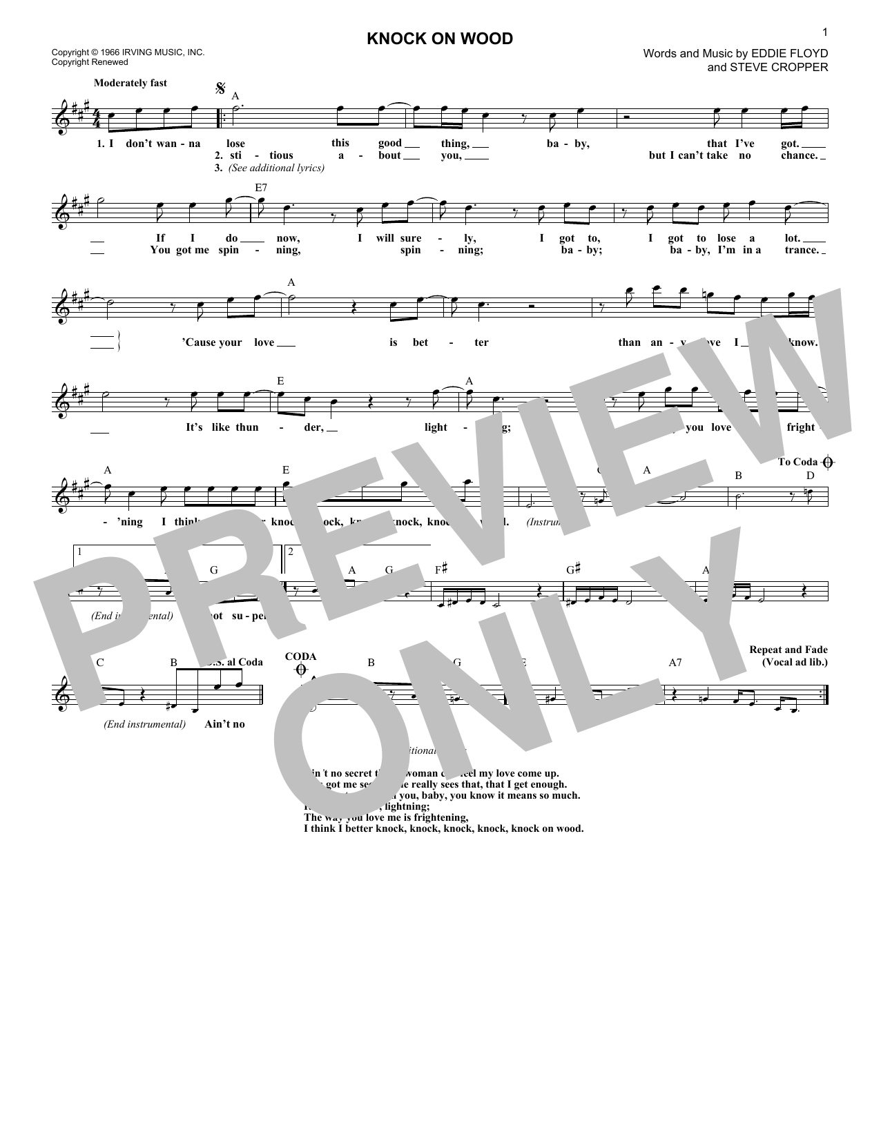 Knock On Wood (Lead Sheet / Fake Book)