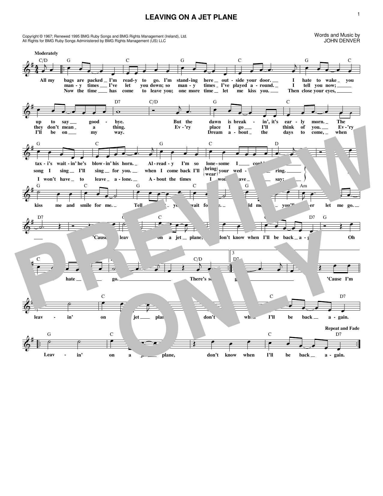 Leaving On A Jet Plane (Lead Sheet / Fake Book)