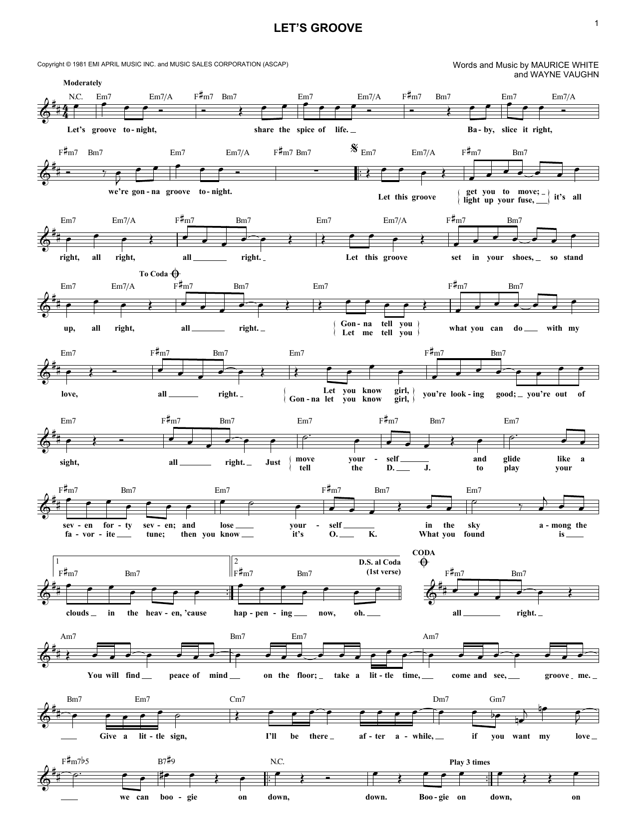 Let's Groove (Lead Sheet / Fake Book)