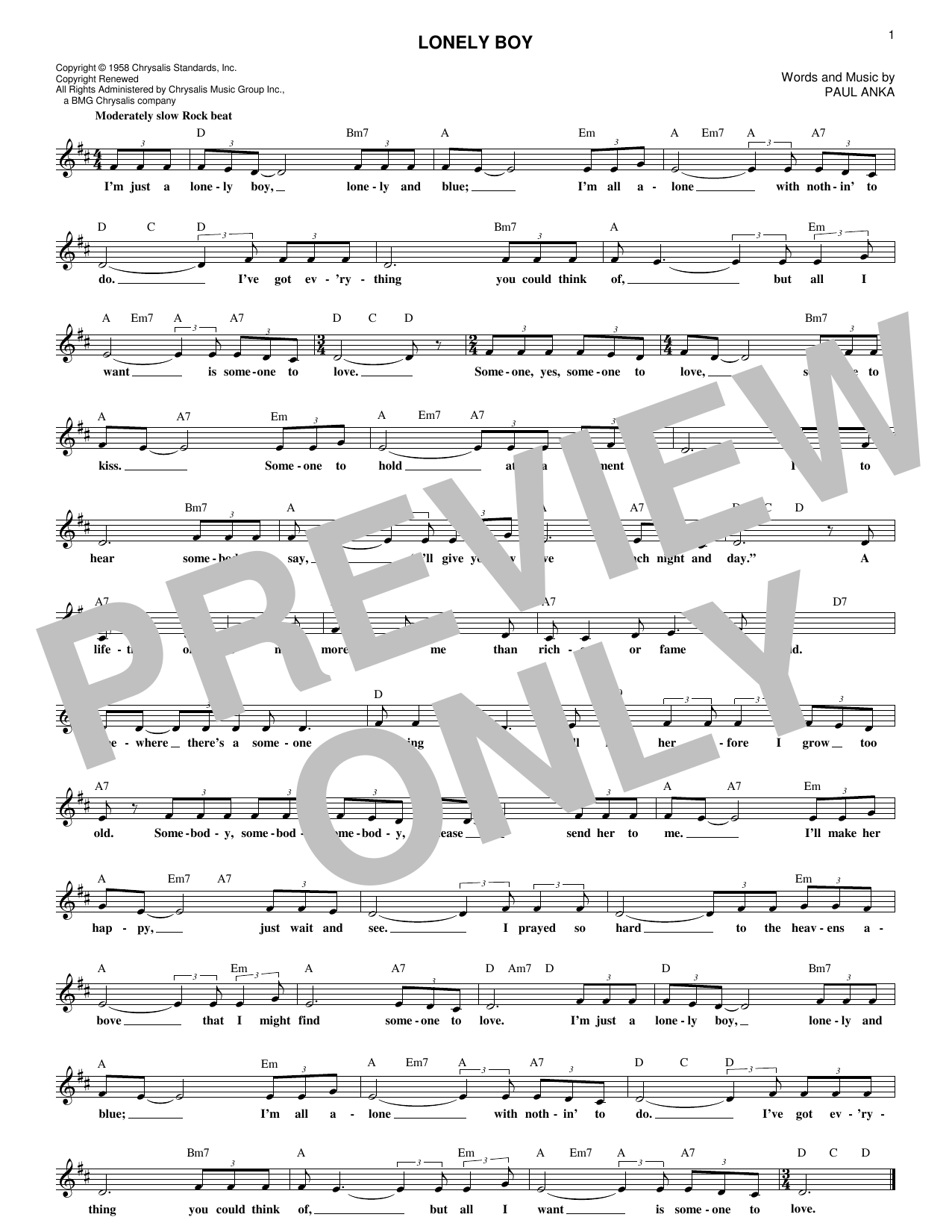 Lonely Boy (Lead Sheet / Fake Book)