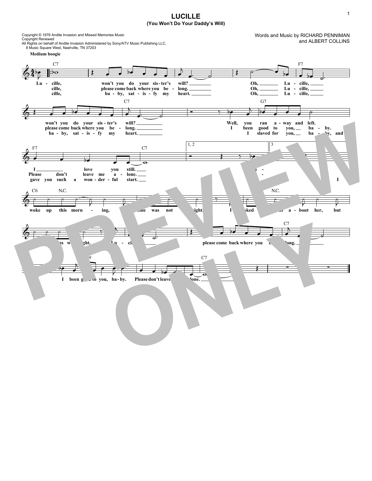Lucille (You Won't Do Your Daddy's Will) (Lead Sheet / Fake Book)
