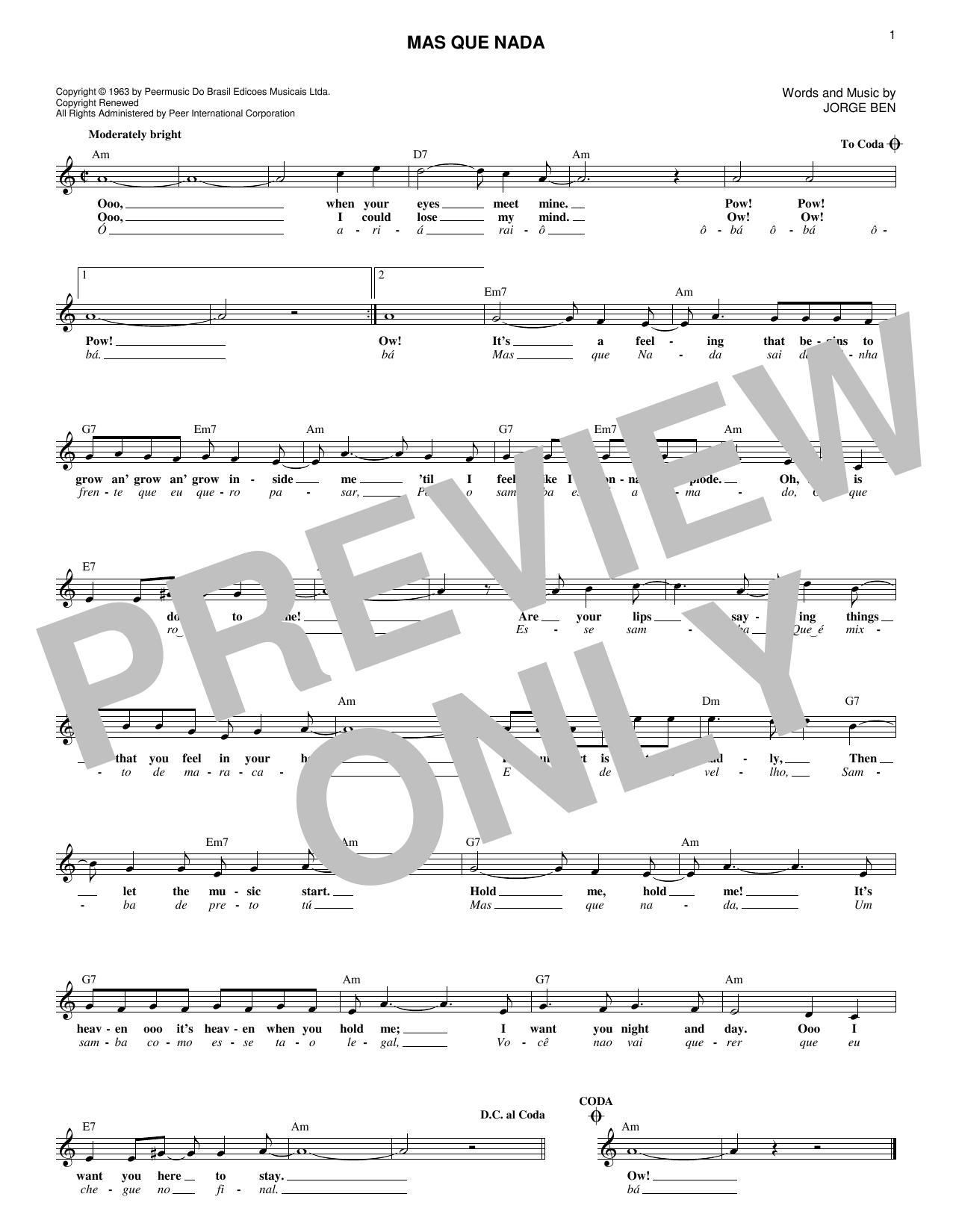 Mas Que Nada (Lead Sheet / Fake Book)