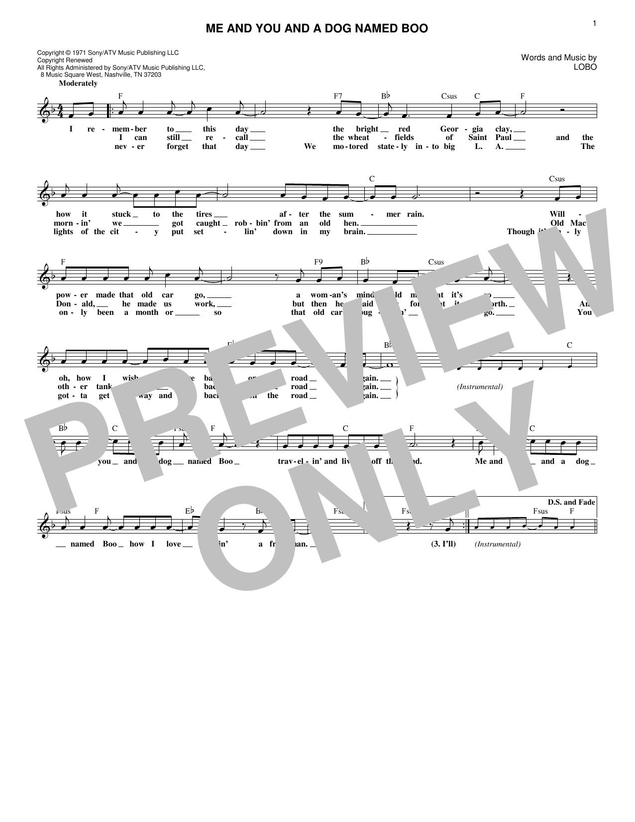 Me And You And A Dog Named Boo (Lead Sheet / Fake Book)