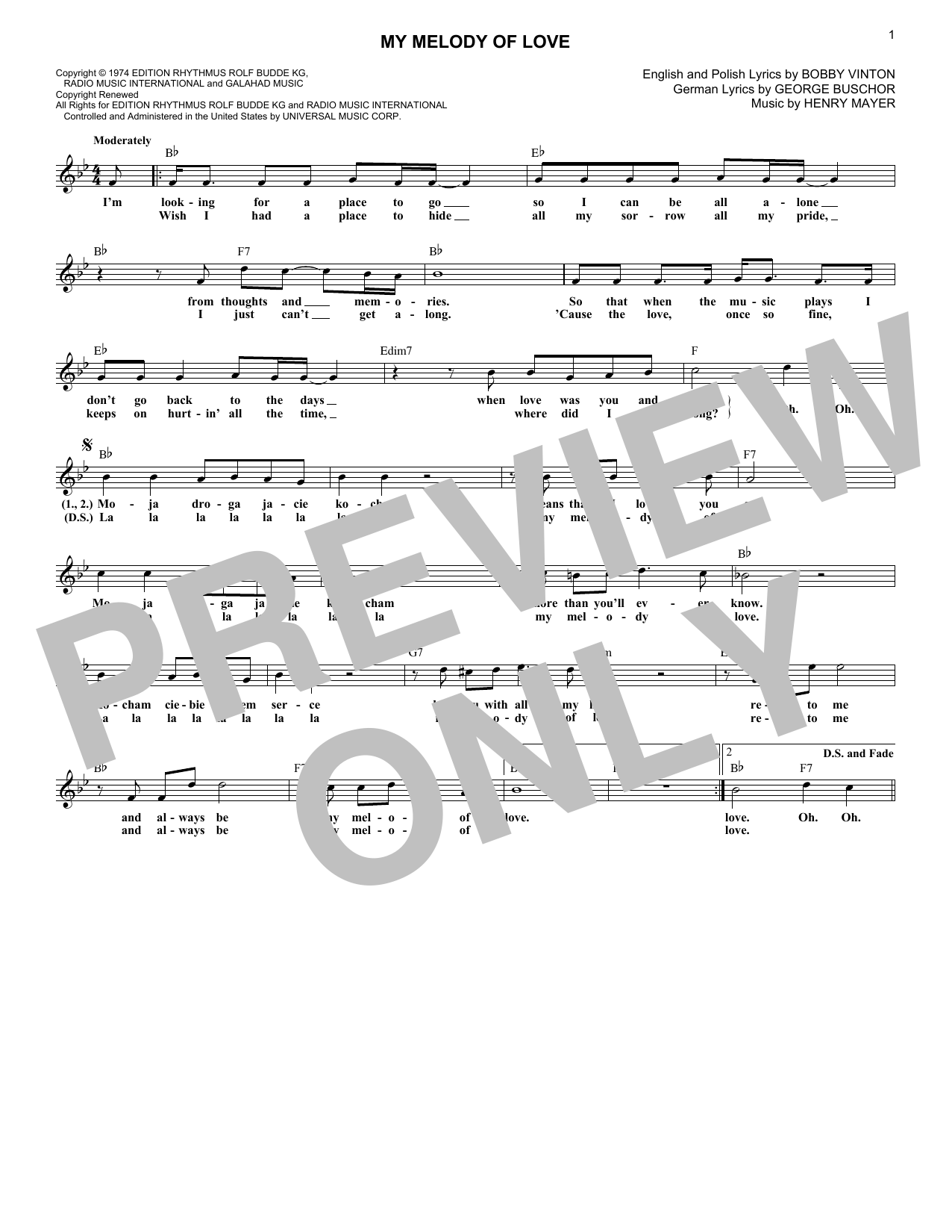 My Melody Of Love (Lead Sheet / Fake Book)