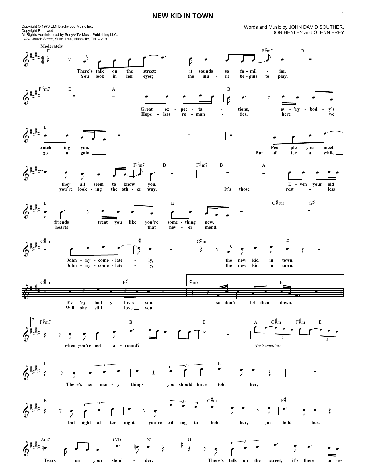 New Kid In Town (Lead Sheet / Fake Book)