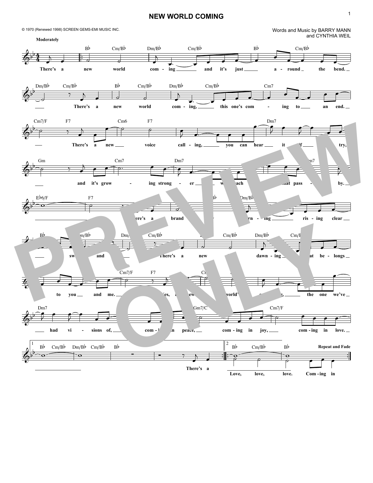 New World Coming (Lead Sheet / Fake Book)
