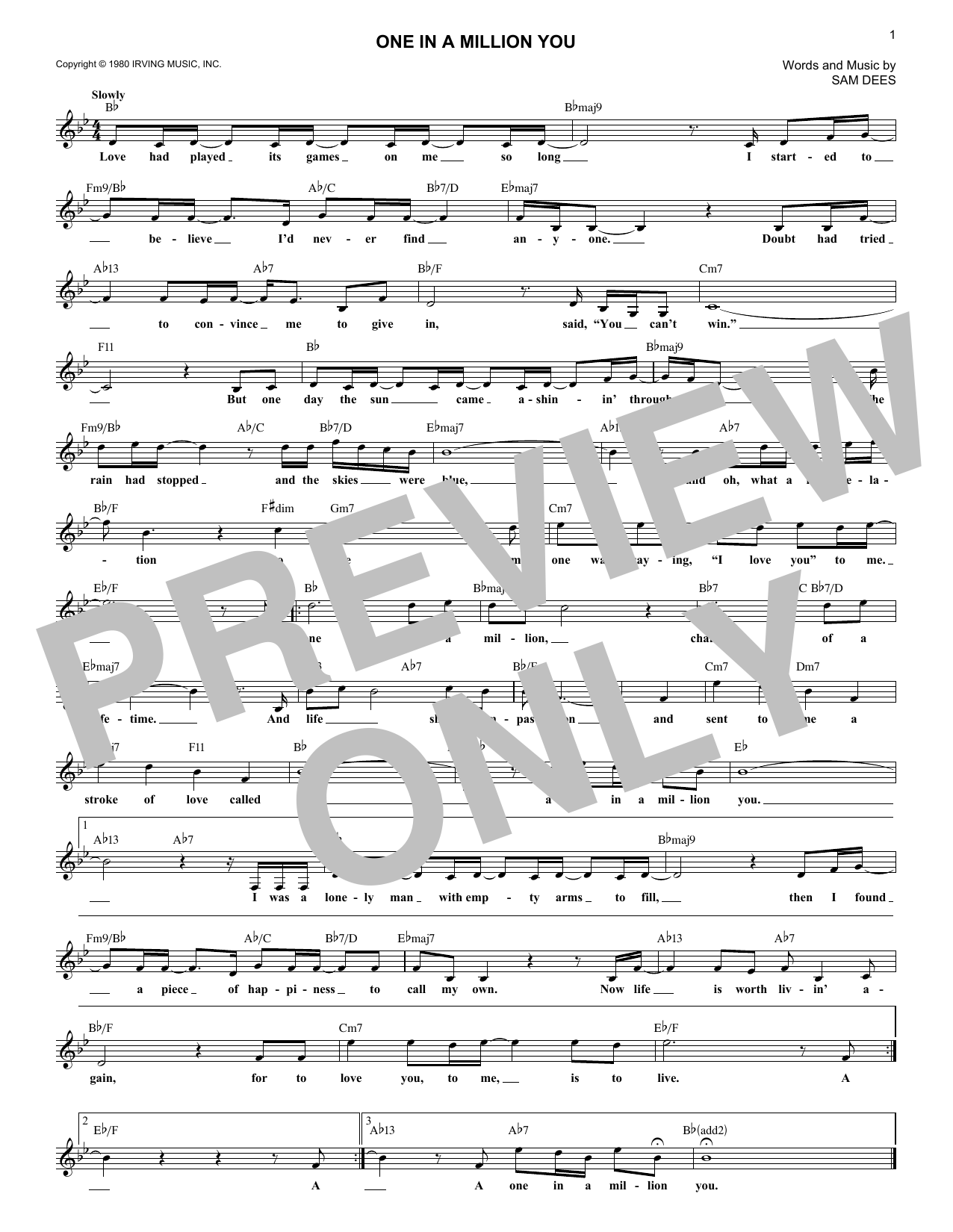 One In A Million You (Lead Sheet / Fake Book)