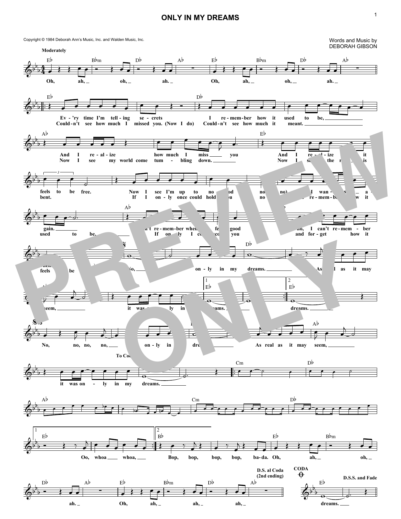 Only In My Dreams (Lead Sheet / Fake Book)
