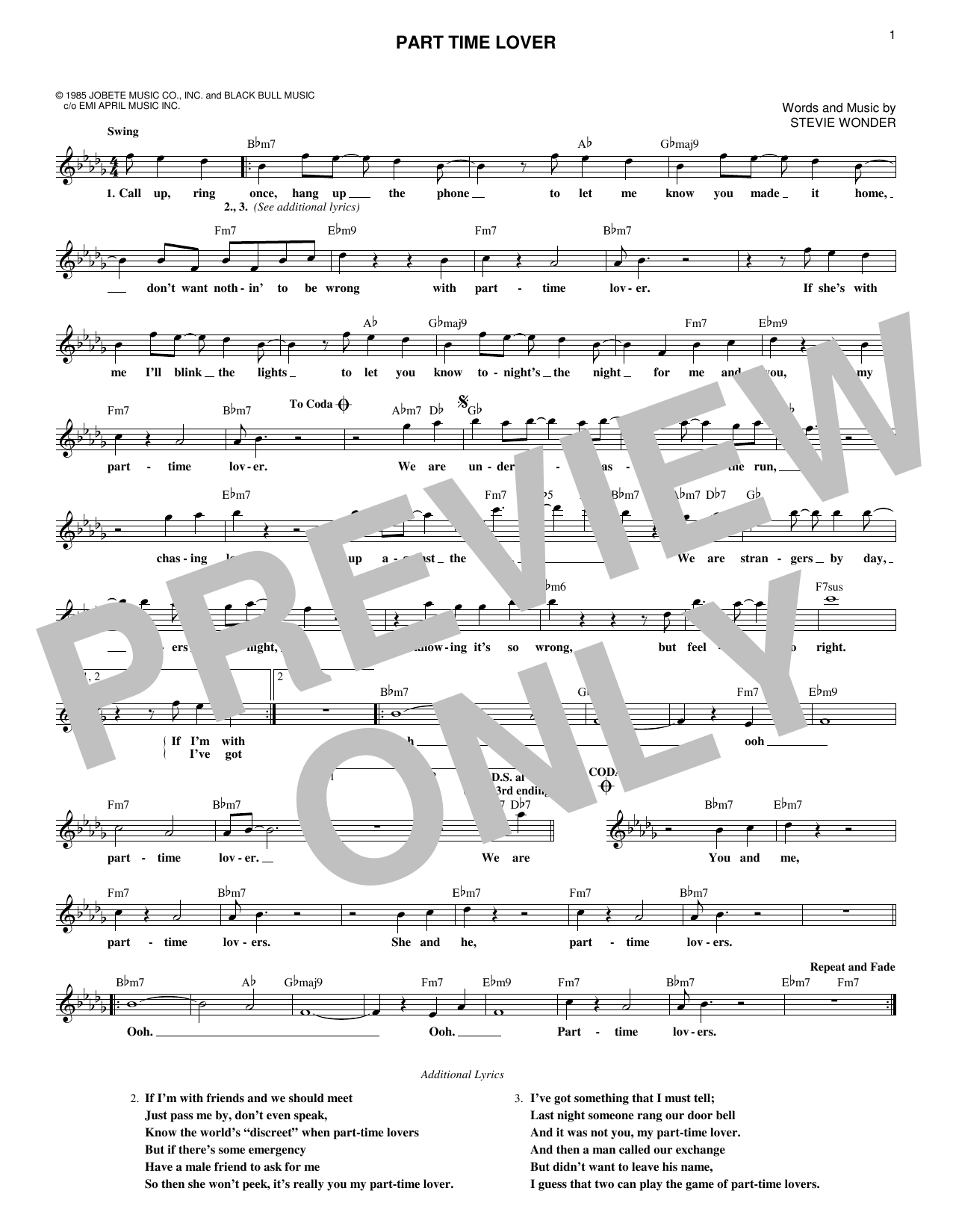 Part Time Lover (Lead Sheet / Fake Book)