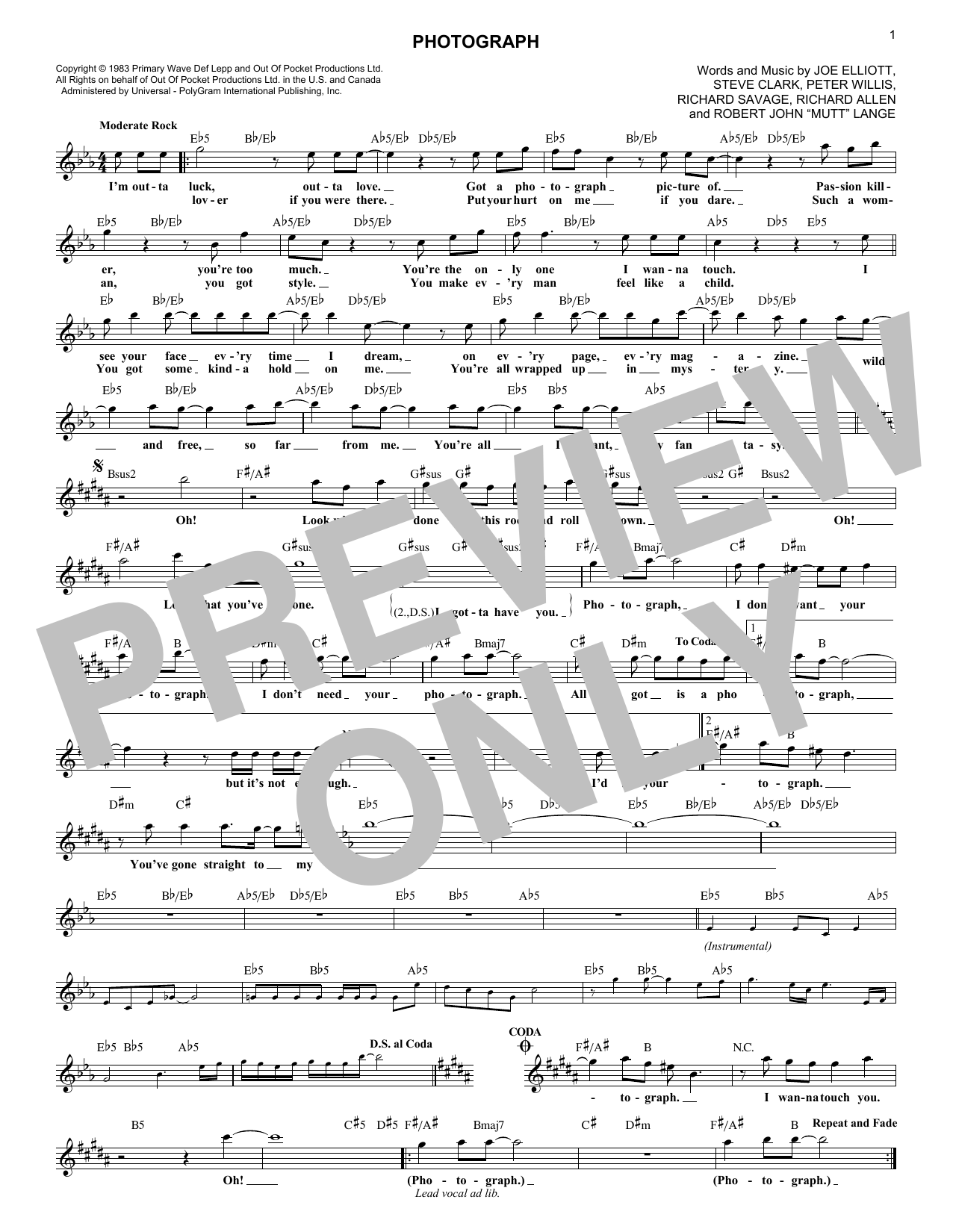 Photograph (Lead Sheet / Fake Book)