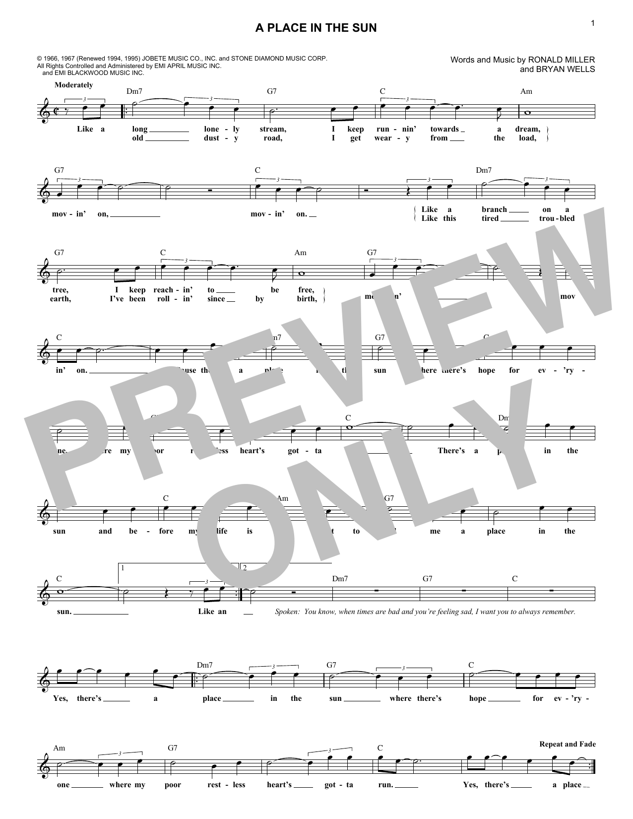 A Place In The Sun (Lead Sheet / Fake Book)