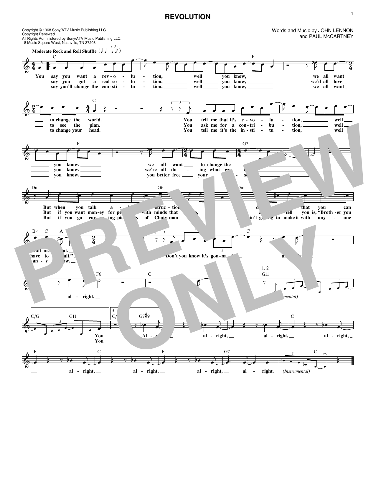 Revolution (Lead Sheet / Fake Book)