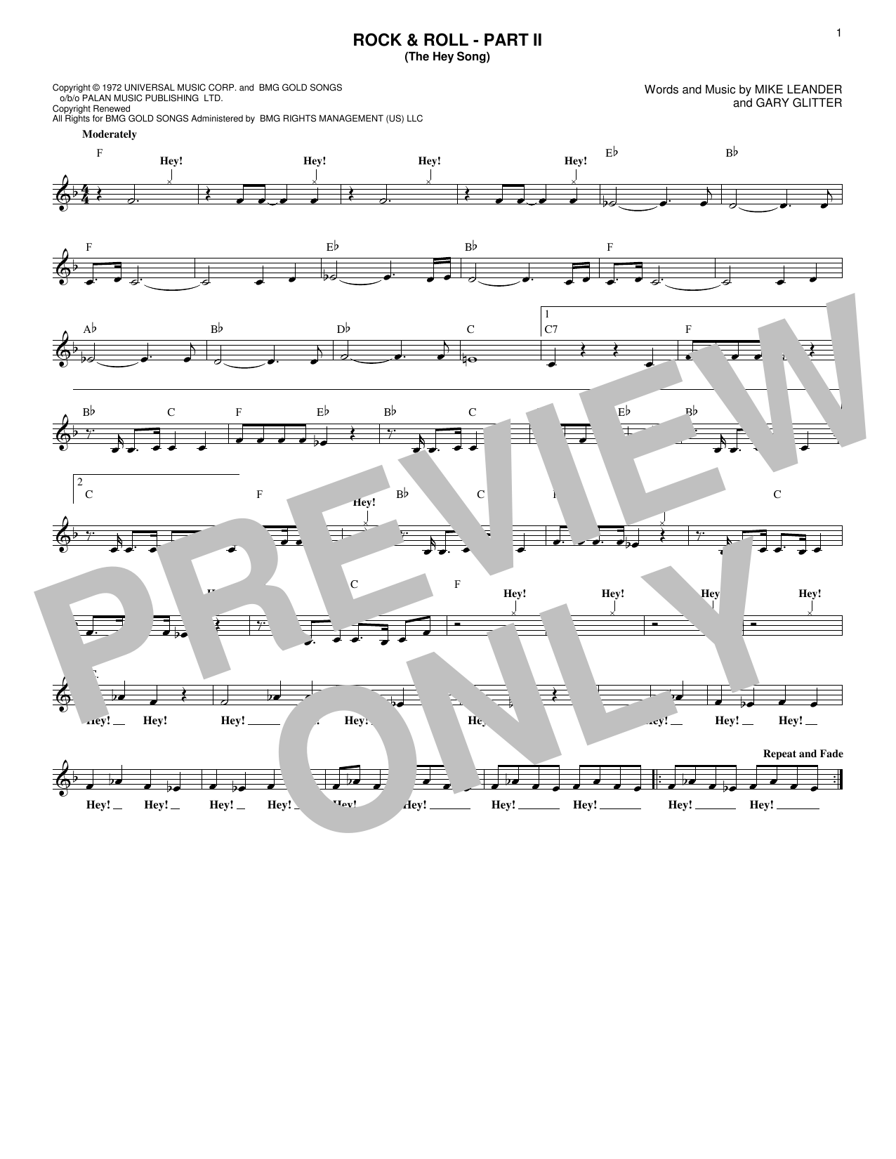Rock & Roll - Part II (The Hey Song) (Lead Sheet / Fake Book)