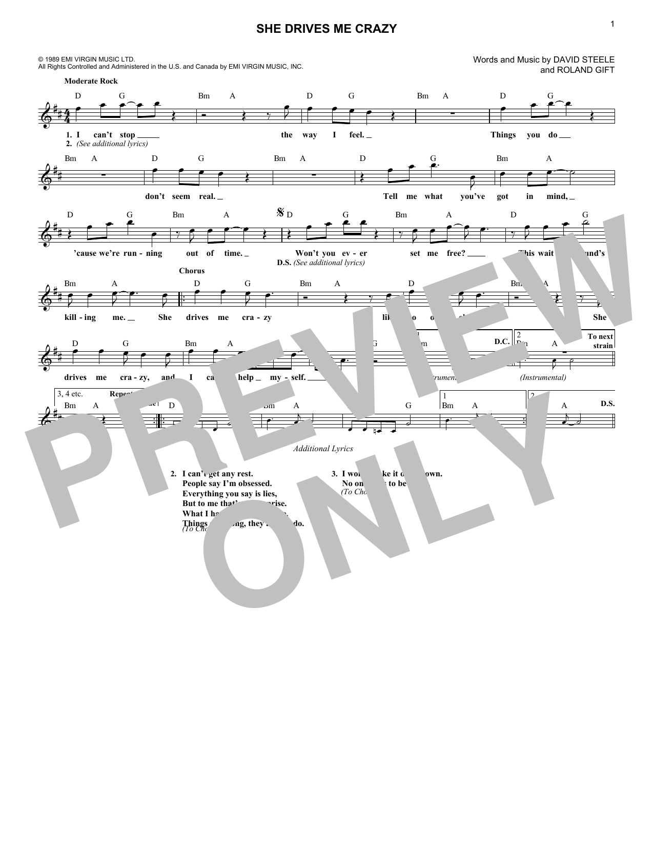 She Drives Me Crazy (Lead Sheet / Fake Book)