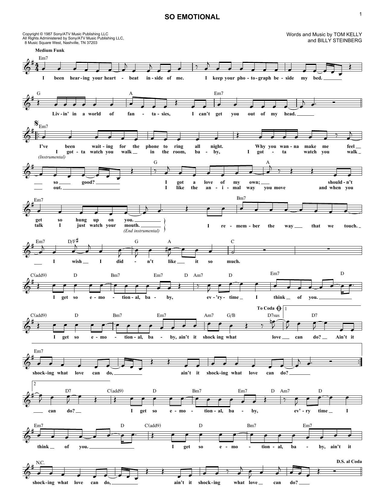 So Emotional (Lead Sheet / Fake Book)