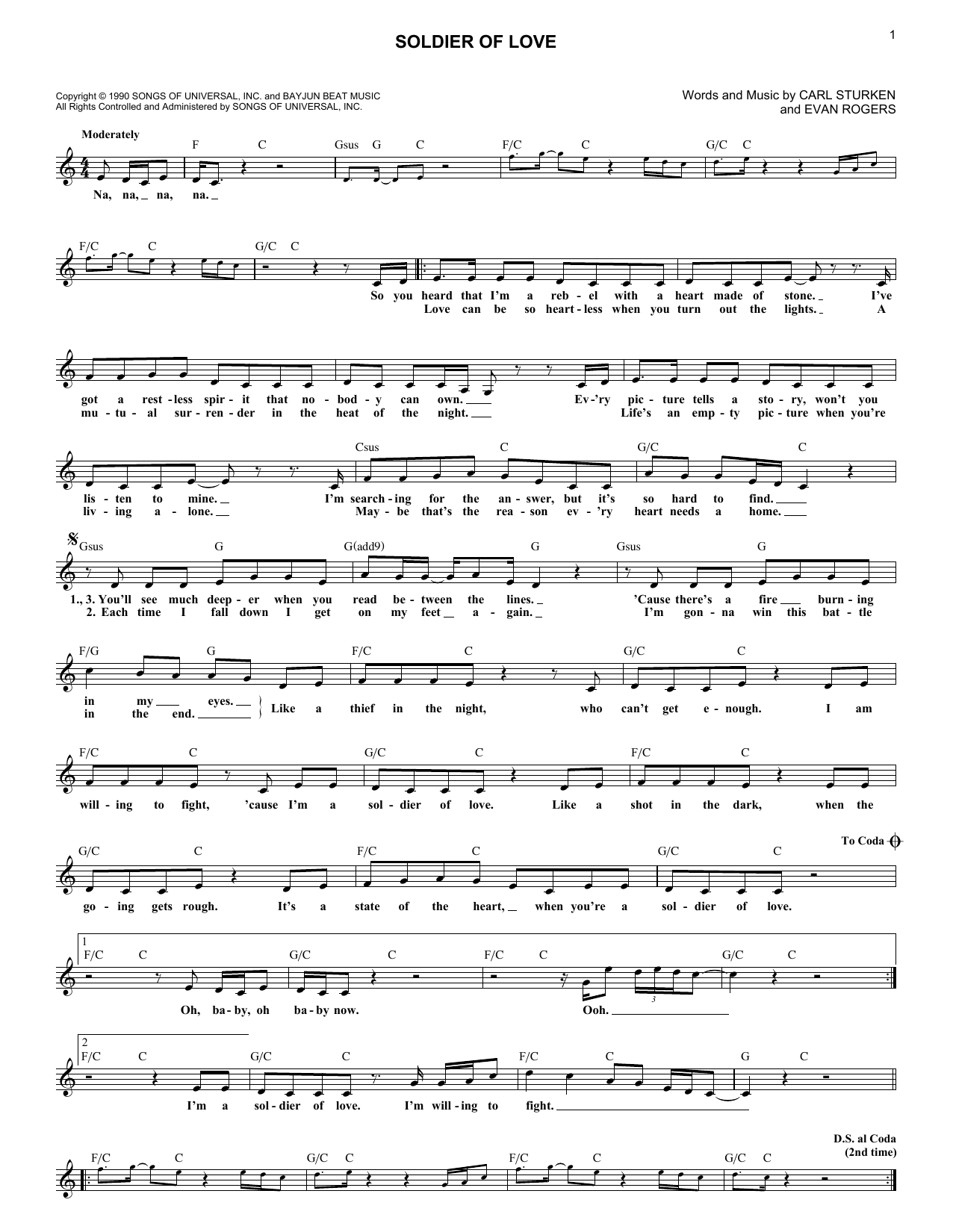 Soldier Of Love (Lead Sheet / Fake Book)