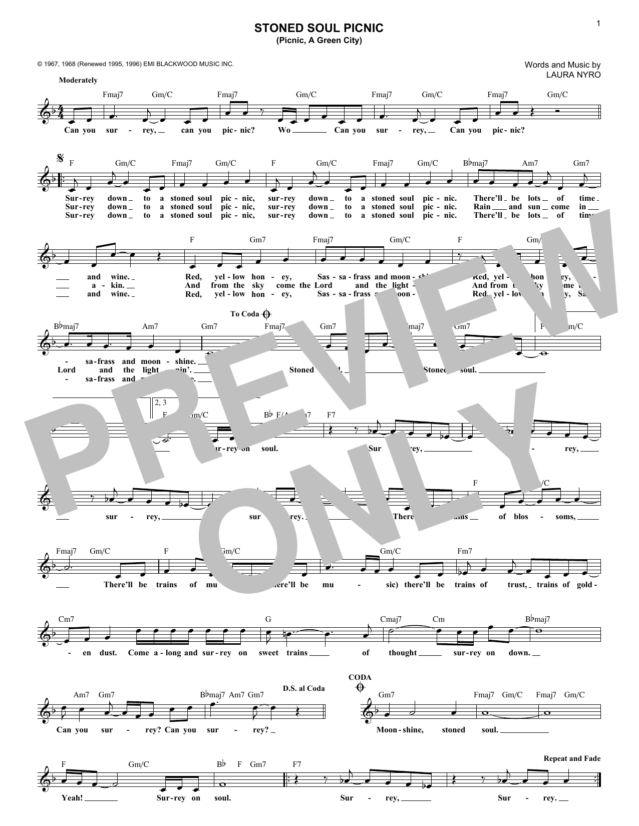 Stoned Soul Picnic (Picnic, A Green City) (Lead Sheet / Fake Book)