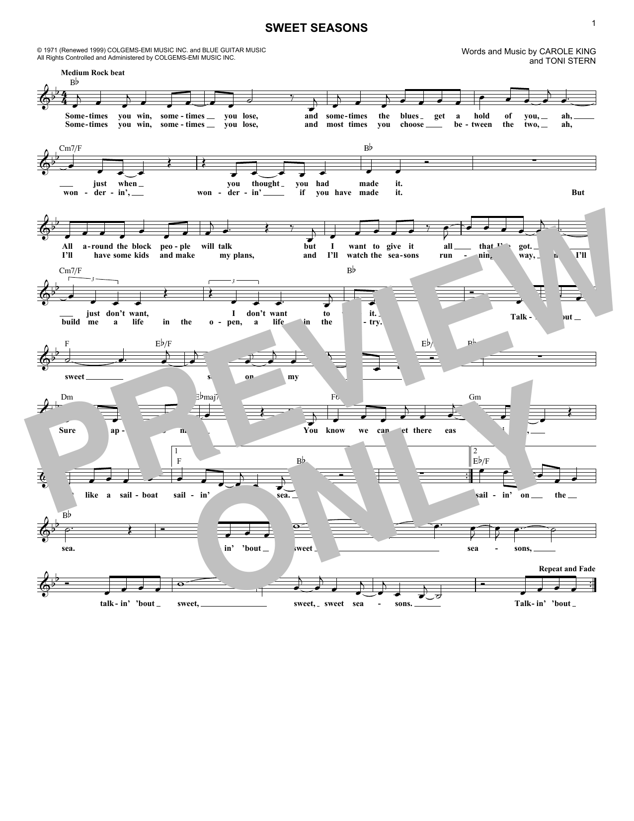 Sweet Seasons (Lead Sheet / Fake Book)