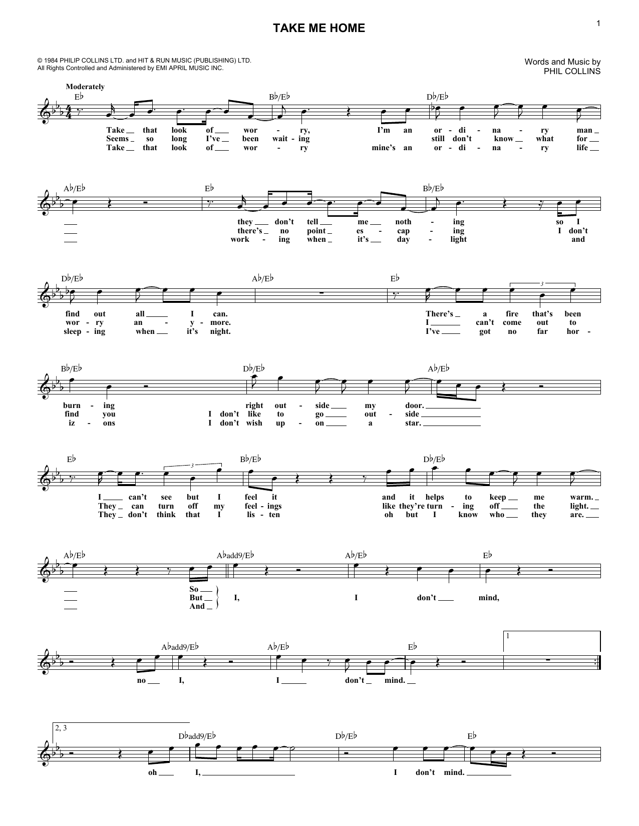 Take Me Home (Lead Sheet / Fake Book)