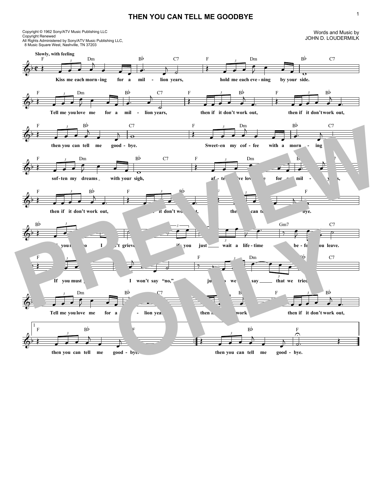 Then You Can Tell Me Goodbye (Lead Sheet / Fake Book)