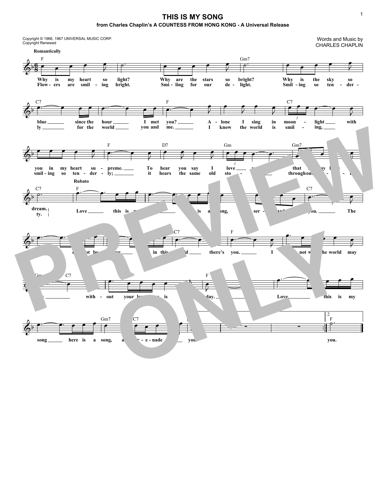This Is My Song (Lead Sheet / Fake Book)