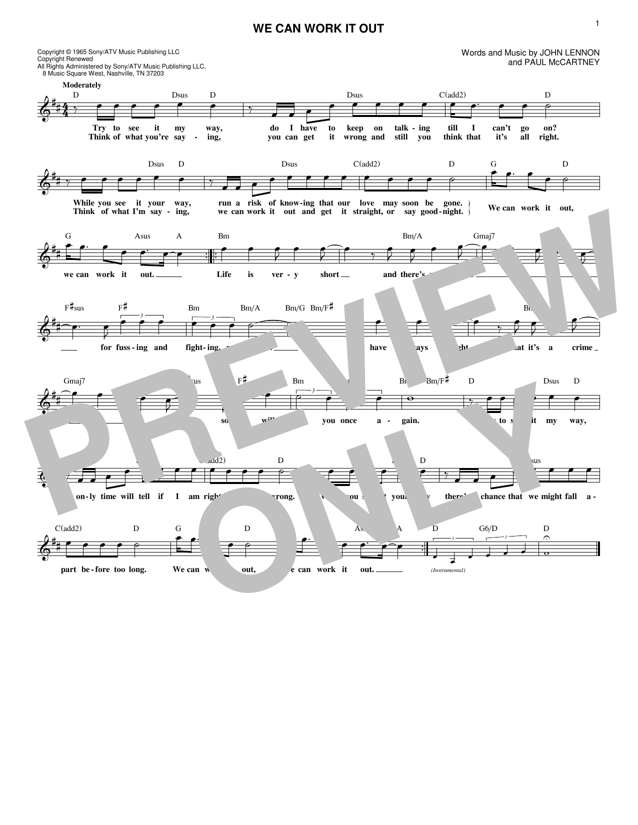 We Can Work It Out (Lead Sheet / Fake Book)