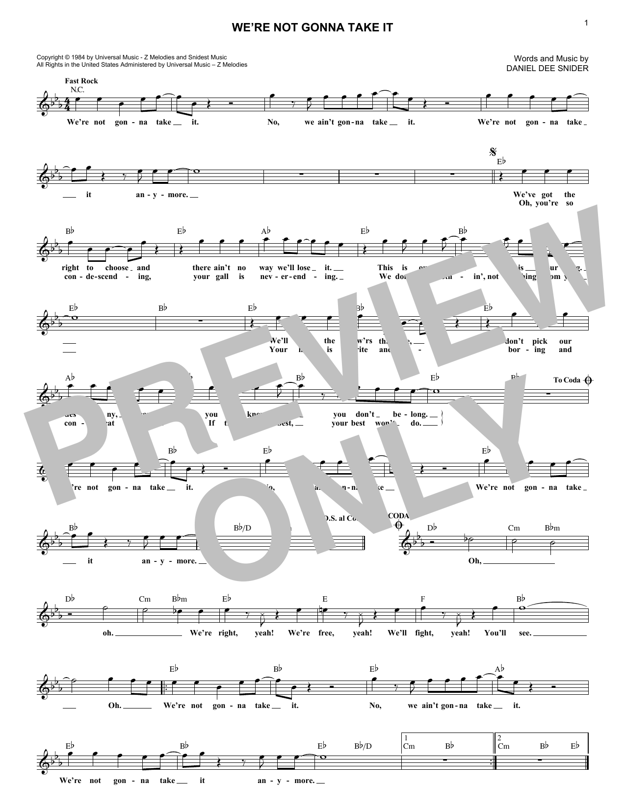 We're Not Gonna Take It (Lead Sheet / Fake Book)