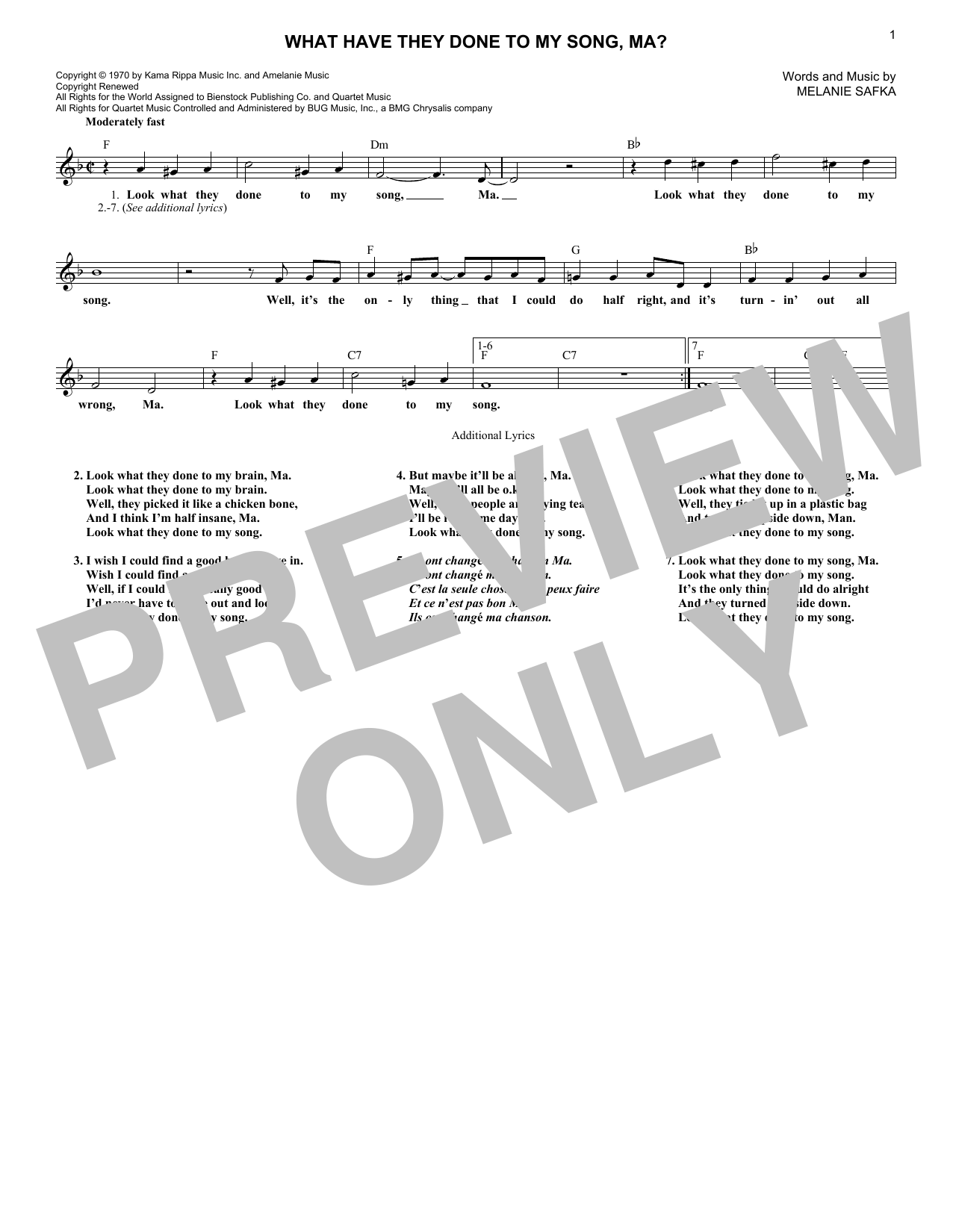 What Have They Done To My Song, Ma? (Lead Sheet / Fake Book)