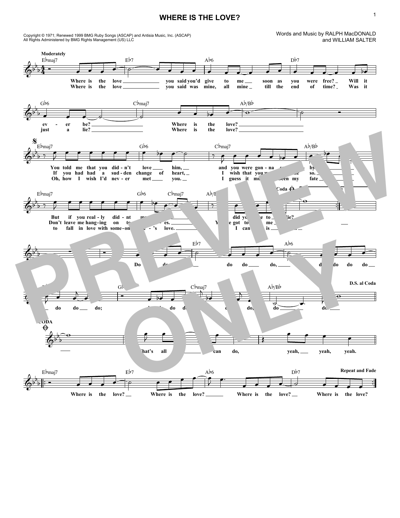 Where Is The Love? (Lead Sheet / Fake Book)