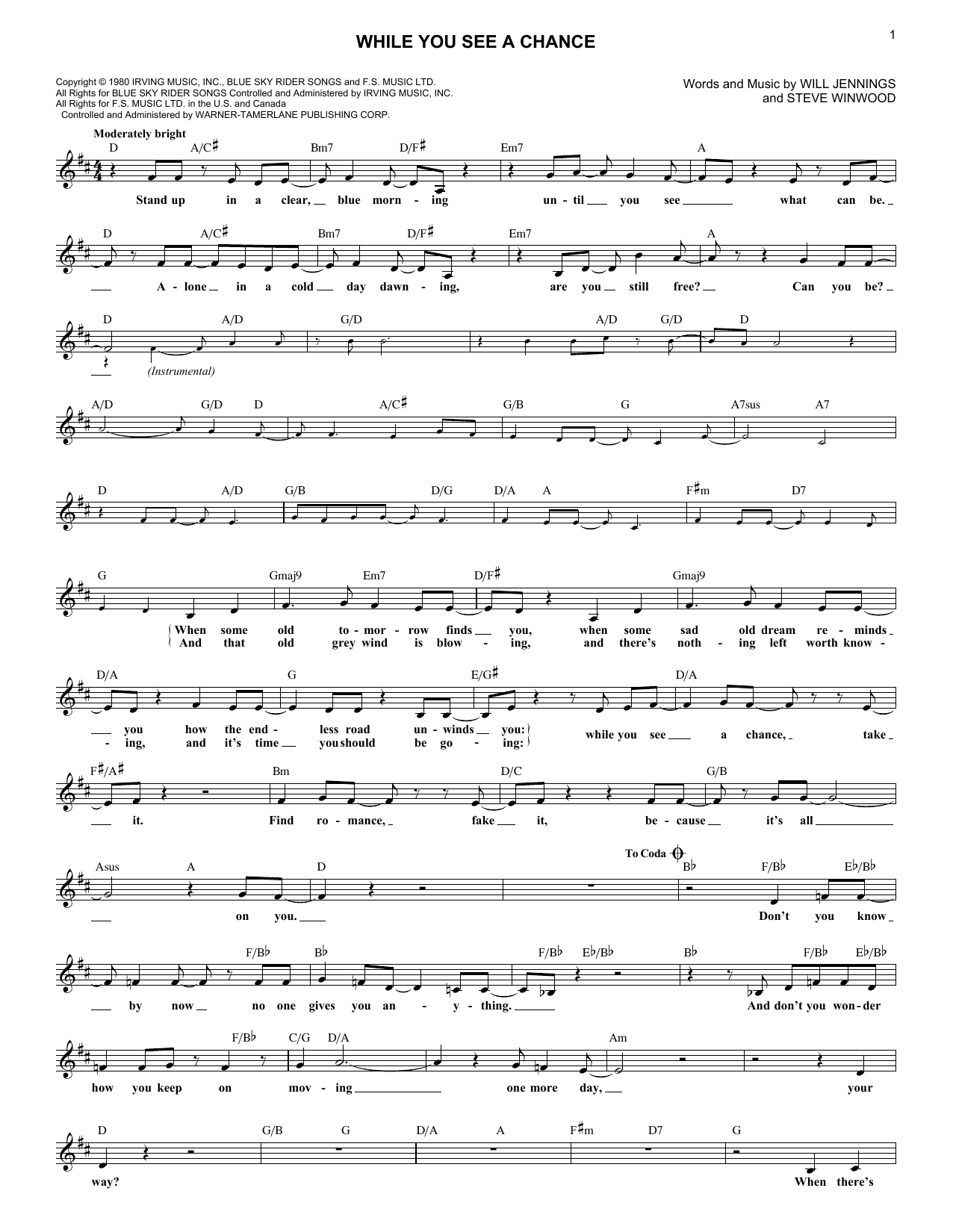 While You See A Chance (Melody Line, Lyrics & Chords)
