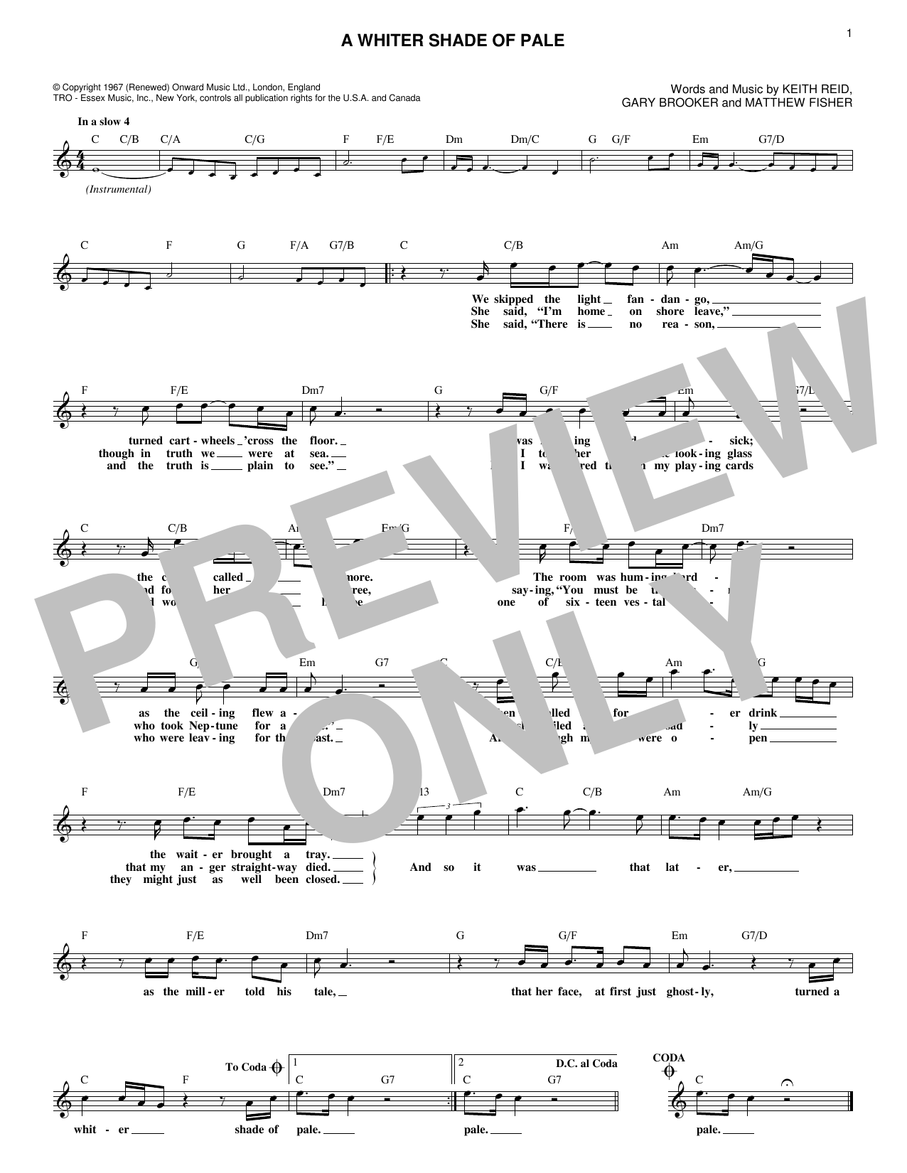 A Whiter Shade Of Pale (Lead Sheet / Fake Book)