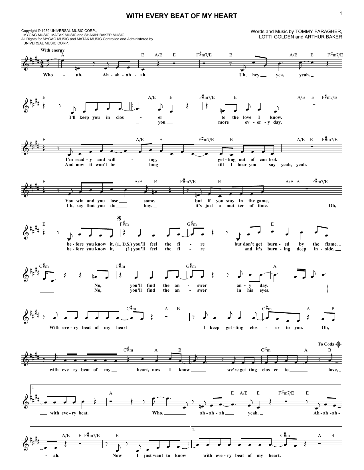 With Every Beat Of My Heart (Lead Sheet / Fake Book)