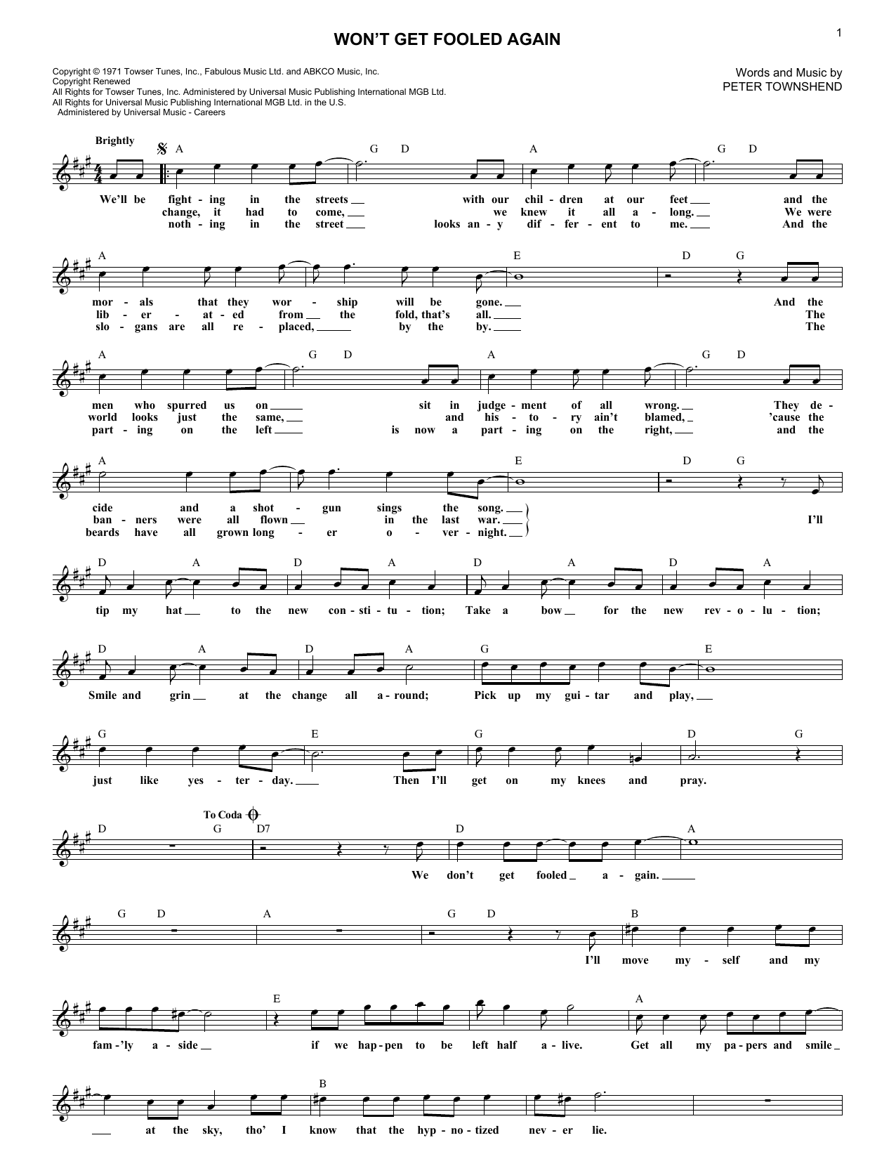 Won't Get Fooled Again (Lead Sheet / Fake Book)