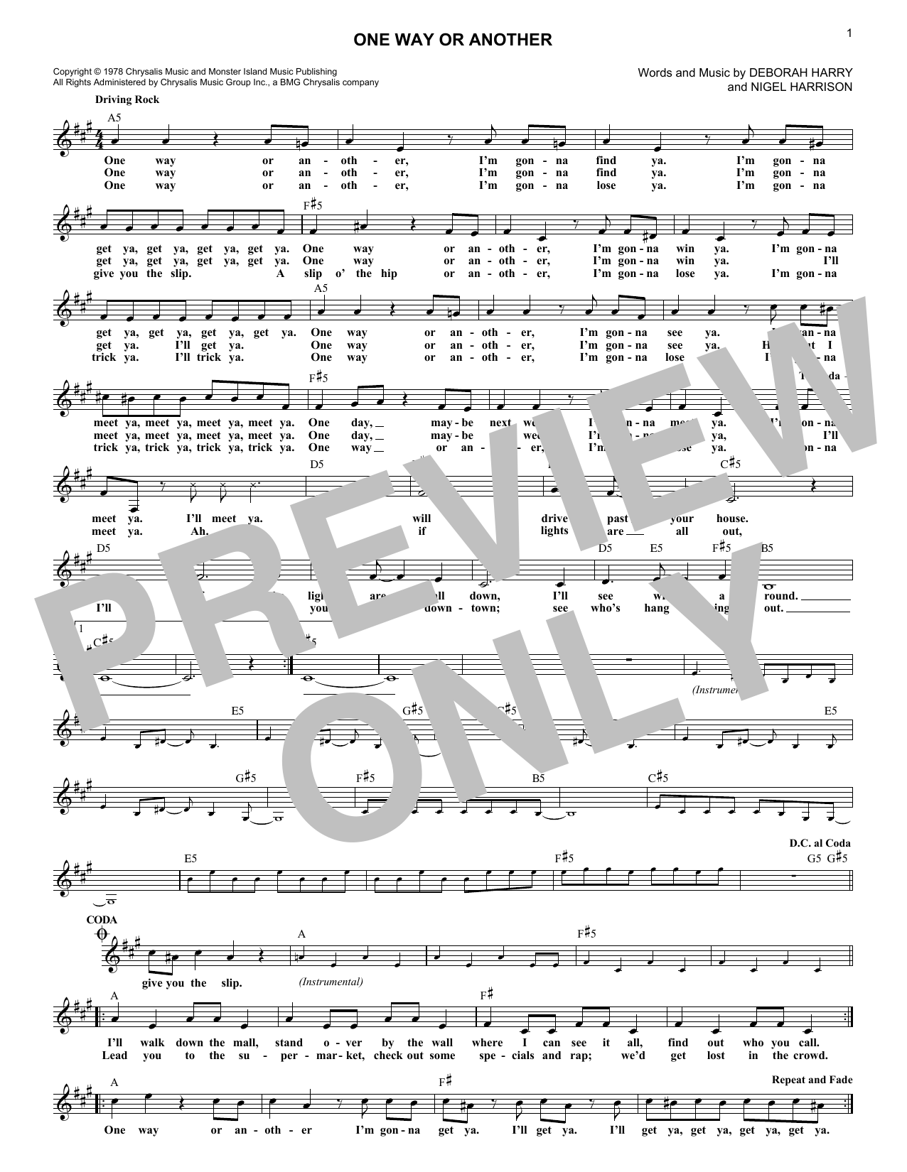 One Way Or Another (Lead Sheet / Fake Book)