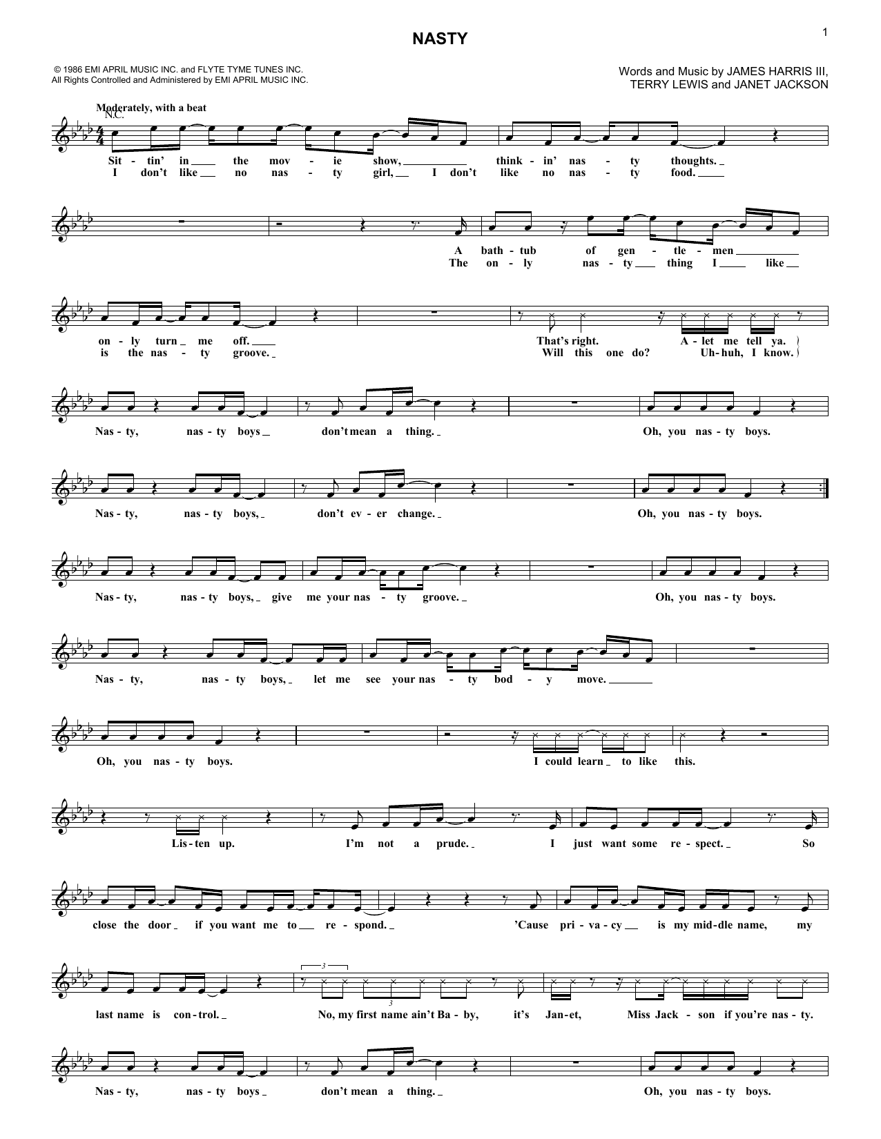 Nasty (Lead Sheet / Fake Book)
