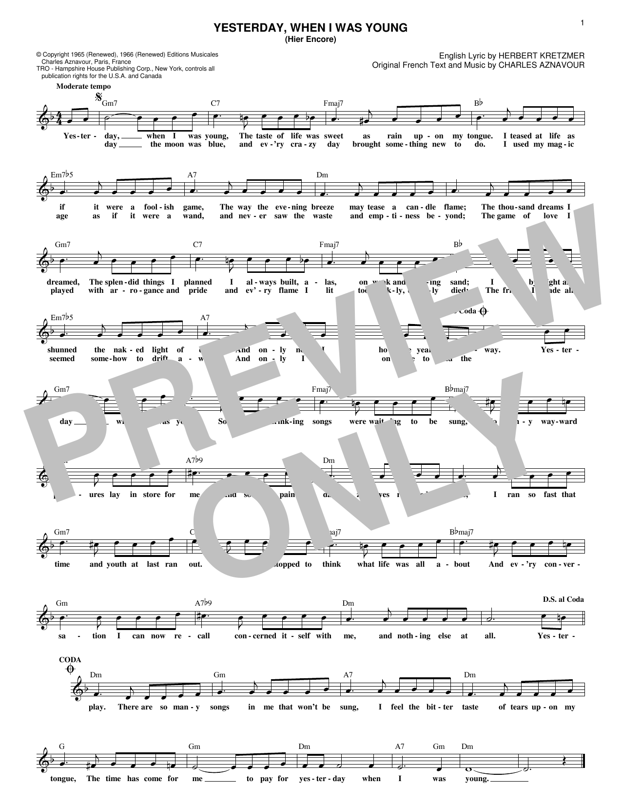Yesterday, When I Was Young (Hier Encore) (Lead Sheet / Fake Book)