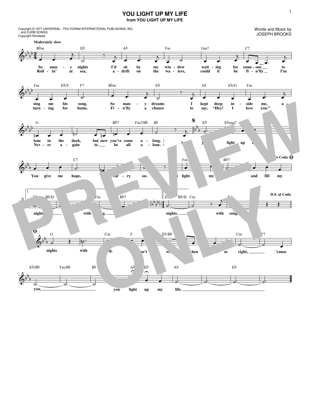 You Light Up My Life (Lead Sheet / Fake Book)
