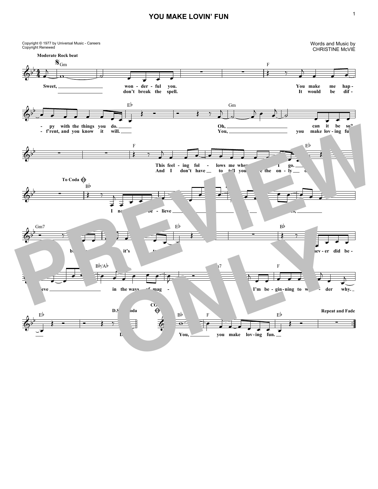 You Make Lovin' Fun (Lead Sheet / Fake Book)